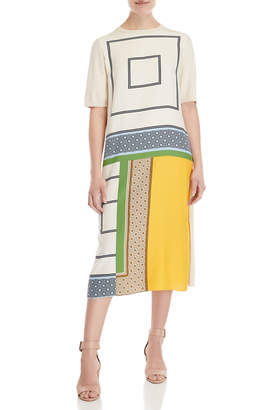 Tory Burch Greer Silk Front Midi Dress