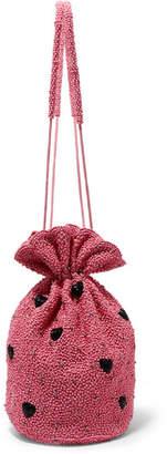 Ganni Embellished Satin Pouch - Pink