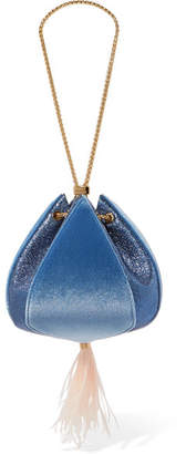 THE VOLON - Cindy Feather-trimmed Metallic Leather And Velvet Clutch - Blue