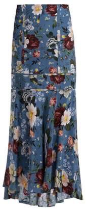 Erdem Tallulah Gertrude Print Silk Skirt - Womens - Blue Multi