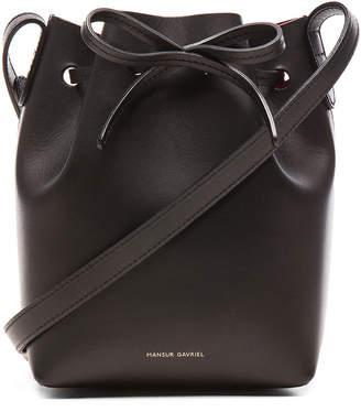 Mansur Gavriel Mini Mini Bucket Bag in Black & Flamma | FWRD