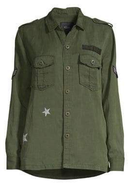 Rails Women's Kato Star Print Militar Jacket - Dark Green - Size Small