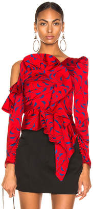 Self-Portrait Self Portrait Printed Red Frill Top in Red & Navy | FWRD
