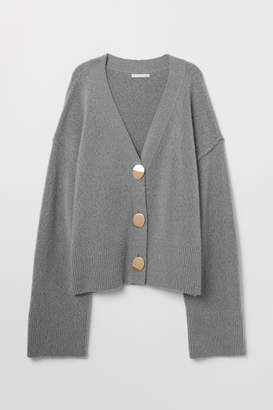 H&M V-neck Wool-blend Cardigan - Gray