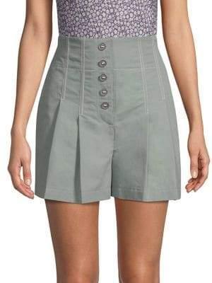 Rebecca Taylor Women's Seamed Linen Shorts - Dark Sage - Size 4