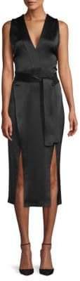 Halston Tie-Waist Sleeveless Midi Dress