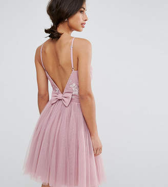 Little Mistress Petite Embellished Top Mini Tulle Prom Dress With Bow Back Detail