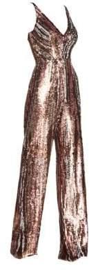 Dress the Population Women's Sequin Wide-Leg Jumpsuit - Matte Bronze - Size Medium