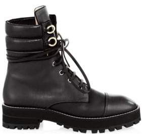 Stuart Weitzman Lexy Leather Combat Boots - Black - Size 4