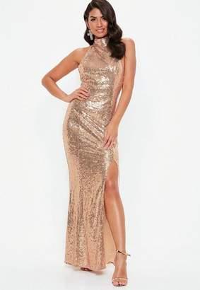 Missguided Gold Sequin Choker Maxi Dress