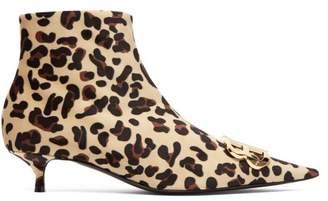 Balenciaga Leopard Velvet Bb Ankle Boots - Womens - Leopard