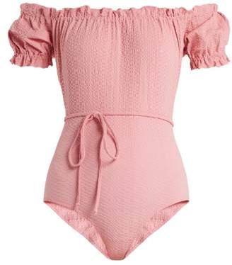 Lisa Marie Fernandez Leandra Off The Shoulder Swimsuit - Womens - Light Pink