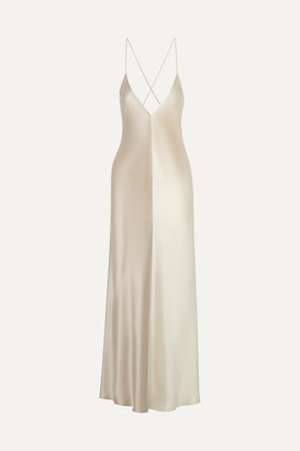 Lee Mathews - Sierra Two-tone Silk-satin Midi Dress - Mushroom