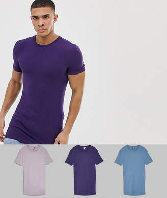 Asos Design DESIGN longline muscle fit t-shirt with crew neck 3 pack MULTIPACK SAVING