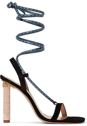 Jacquemus Bergamo Suede And Leather Sandals - Navy
