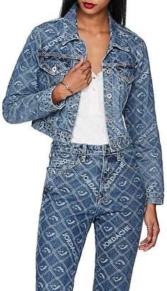 Jordache Women's Logo-Jacquard Denim Crop Trucker Jacket - Blue