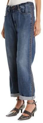 Brunello Cucinelli Boyfriend-Fit Drawstring Jeans with Monili Stripes