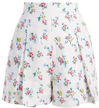 Emilia Wickstead Leslie High Waisted Linen Shorts - Womens - White Print