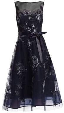 Teri Jon by Rickie Freeman by Rickie Freeman Women's Lace Appliqué Illusion Neckline Tulle Belt Dress - Navy - Size 8