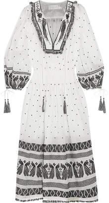 Zimmermann Divinity Tassel-trimmed Embroidered Linen Midi Dress - White