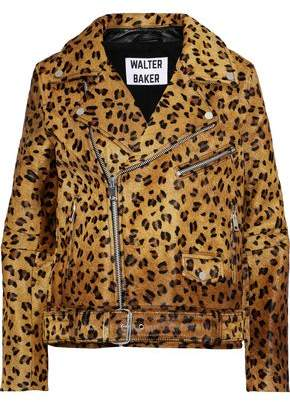 Walter W118 By Baker Lonnie Leopard-Print Calf Hair Biker Jacket