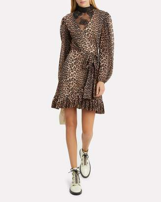 Ganni Printed Mesh Leopard Wrap Dress