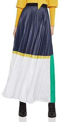BCBGMAXAZRIA Pleated Color-Block Maxi Skirt