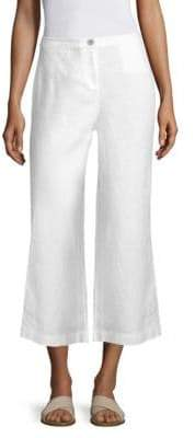 Eileen Fisher Women's Linen Wide Cropped Pants - White - Size 12