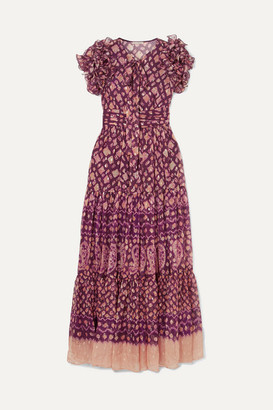 Ulla Johnson Umbra Ruffled Fil Coupé Silk-blend Maxi Dress - Plum