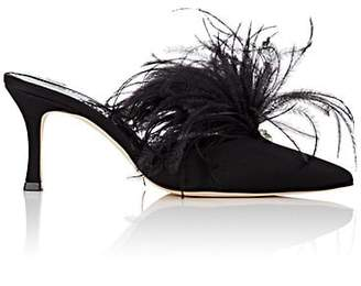 Manolo Blahnik Women's Isonza Feather & Satin Mules - Black Satin
