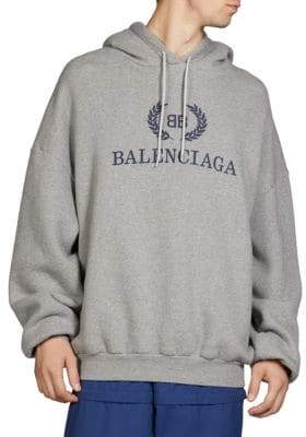 Balenciaga Men's Cotton Logo Hoodie - Grey - Size XXS