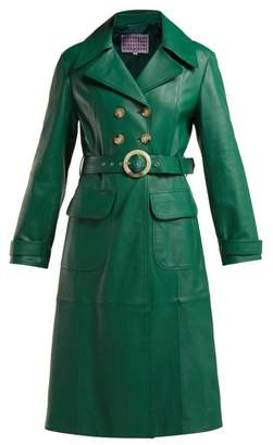 ALEXACHUNG Double Breasted Belted Leather Trench Coat - Womens - Green