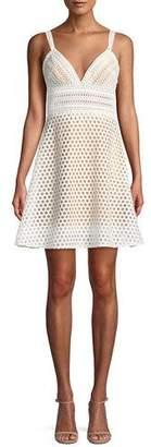 Jovani Crochet V-Neck Mini Cocktail Dress
