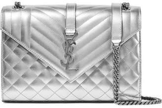 Saint Laurent Envelope Quilted Metallic Leather Shoulder Bag - Silver