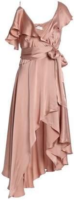 Zimmermann Asymmetric Ruffled Washed-Silk Wrap Midi Dress