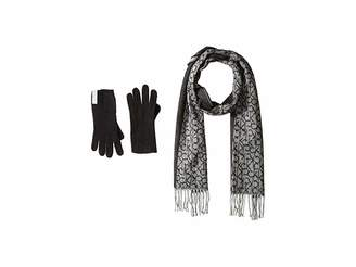 Calvin Klein Two-Piece Woven Border Scarf, Knit Touch Gloves