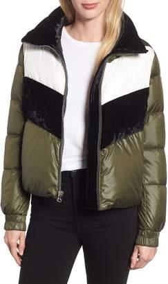 Andrew Marc Chevron Stripe Puffer Jacket