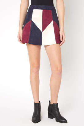 Abbeline Navy Geometric Patchwork Suede Mini Skirt