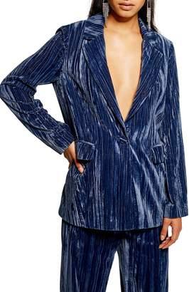 Topshop Crinkle Velvet Jacket