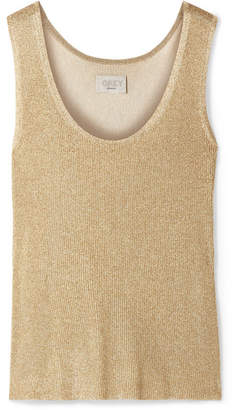 Jason Wu GREY - Smerelda Metallic Ribbed Stretch-knit Tank - Matte gold