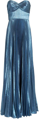 Amur Sapphire Blue Pleated Strapless Gown