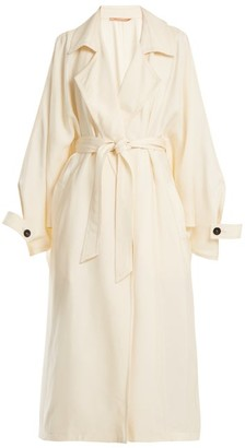 Summa - Notch Lapel Belted Satin Trench Coat - Womens - White