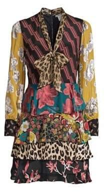 Alice + Olivia Women's Dasha Tiered Ruffle Tie Neck Dress - Zig Zag Stripe - Size 0
