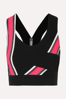 NO KA 'OI NO KA'OI - Kanawi Hele Striped Stretch Sports Bra - Black