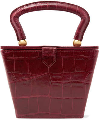 STAUD - Sadie Croc-effect Leather Tote - Burgundy