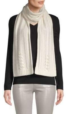 Badgley Mischka Pearl Embellished Fishtail Knit Scarf