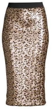 Le Superbe Le Superbe Women's Liza Leopard Print Skirt - Leopard Sequin - Size Large