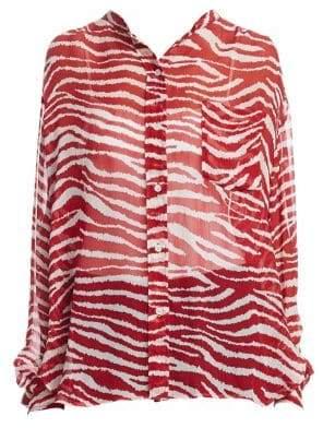 Etoile Isabel Marant Women's Sheer Zebra Print Blouse - Red - Size 34 (2)
