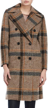 KENDALL + KYLIE Brown Plaid Peacoat