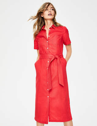 Boden Tie Waist Shirt Dress